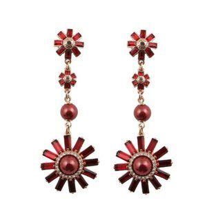 Henri Bendel Crystal Red SunFlower Vintage Earri